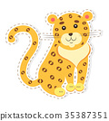 Cute Jaguar Cartoon Flat Vector Sticker or Icon 35387351