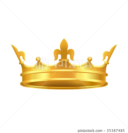 Golden Crown with Red and Blue Stones Close-up 35387485
