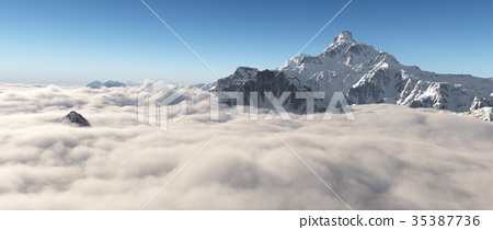 Mountain panorama over the clouds 35387736