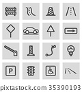 Vector line road icons set 35390193
