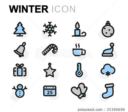 Vector flat winter icons set 35390699