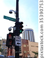 American road sign pedestrian signal and one way 35390753