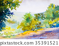 Watercolor landscape original painting of forest. 35391521