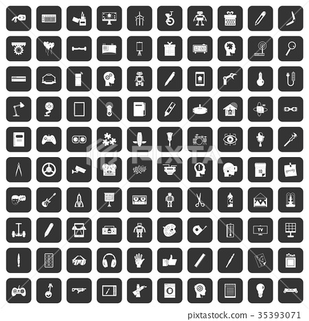 100 creative idea icons set black 35393071