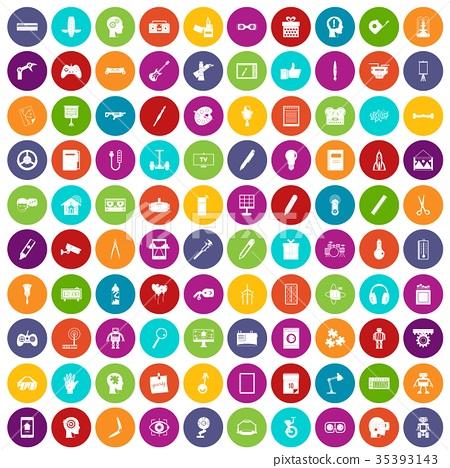 100 creative idea icons set color 35393143