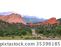 red rock, red, heap 35396185