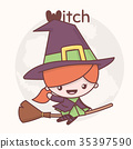 vector, cartoon, witch 35397590