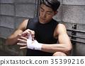 肌肉 牆 拳擊手 35399216