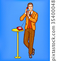 Pop art man talking on a retro phone and covering 35400048