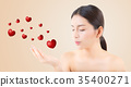 Beauty asian woman blowing mouth valentine heart 35400271