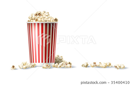 red and white cardboard bucket with popcorn in 35400410