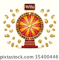 cartoon illustration of a glowing wheel fortune 35400446