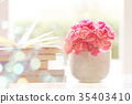 fresh pink carnation flower with books background 35403410