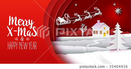 Paper cut Xmas banner with text 35404916
