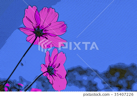 Dot Art Drawing; Pink Cosmos Standing Up TowerdSky 35407226