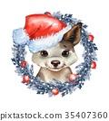 dog, Santa, Claus 35407360