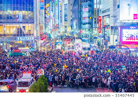Tokyo Shibuya Station Scramble intersection on the day of Halloween (end of October) 35407445