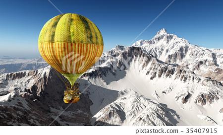 Fantasy hot air balloon over the mountains 35407915