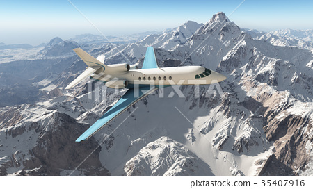 Business jet over the mountains 35407916