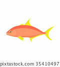 Orange fish icon, cartoon style 35410497