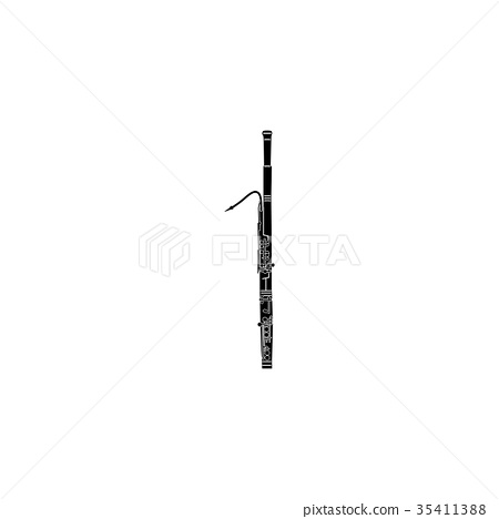 Bassoon icon, black simple style 35411388