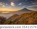 단풍의 三つ峠와 후지산 새벽 35411574