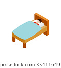 Man laying in bed icon, isometric 3d style 35411649