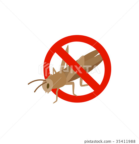 Warning sign with locust icon, isometric 3d style 35411988