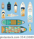 Top view on isolated boats or ships 35413089