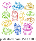 Sweeties sketches, pastry and bakery cake 35413103