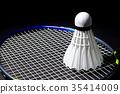 Shuttlecocks on the racket. 35414009