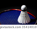 Shuttlecocks on the racket. 35414010