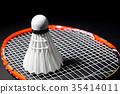 Shuttlecocks on the racket. 35414011