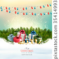 Holiday Christmas background with a gift boxes  35414993