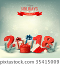 Holiday background with gift presents and 2018 35415009