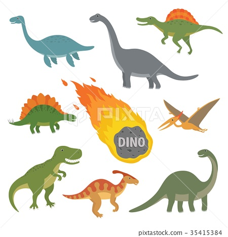 Vector illustration of happy Cartoon Dinosaur 35415384