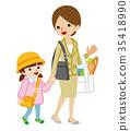 손을 잡고 산책 어머니와 딸 유치원 마중 35418990
