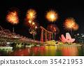 firework with city, singapore 35421953