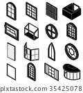 Window forms icons set, simple style 35425078