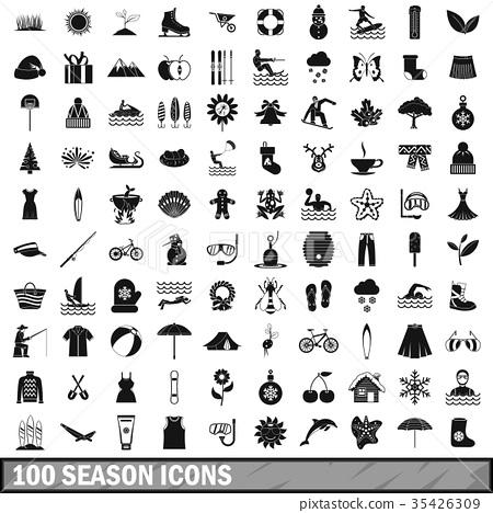 100 season icons set, simple style 35426309