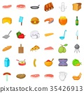 Bbq icons set, cartoon style 35426913