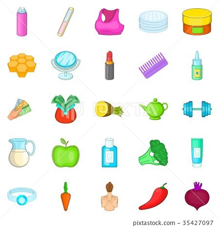 Moisturizing the skin icons set, cartoon style 35427097