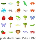 Crustaceans icons set, cartoon style 35427397