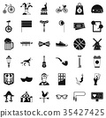 Circus bike icons set, simple style 35427425
