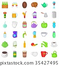 Fruit and drink icons set, cartoon style 35427495