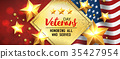 Veterans Day greeting card horizontal banner with 35427954