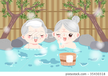 old couple with hot spring 35430318