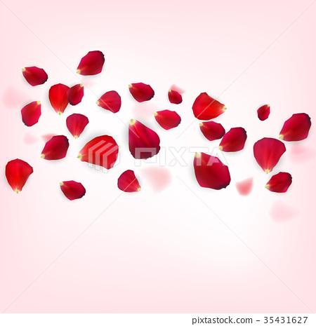 Background of Naturalistic Rose Petals. Vector 35431627