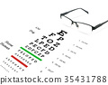 Eye glasses with eyesight test on chart board. 35431788