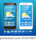 Weather Forecast App Vector. Realistic Smartphone 35437067